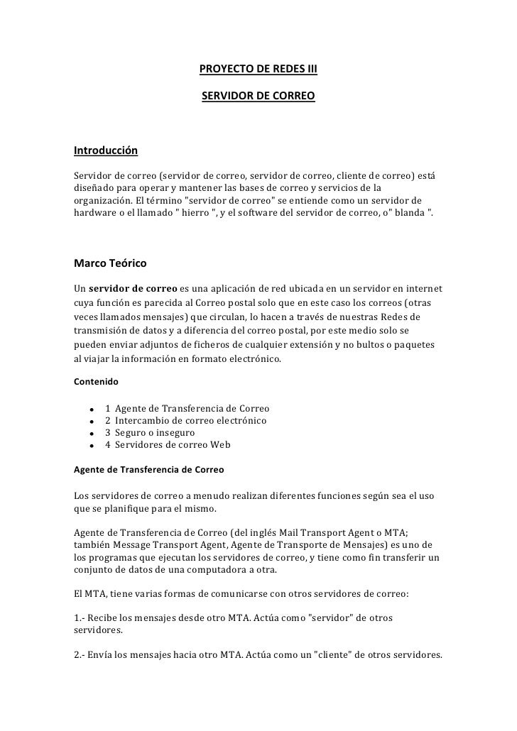 PROYECTO DE REDES III                             SERVIDOR DE CORREOIntroducciónServidor de correo (servidor de correo, se...