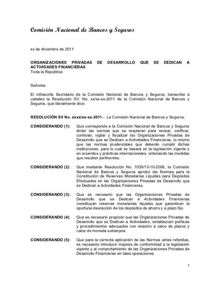 Comisión Nacional de Bancos y Segurosxx de diciembre de 2011ORGANIZACIONES PRIVADAS              DE    DESARROLLO         ...