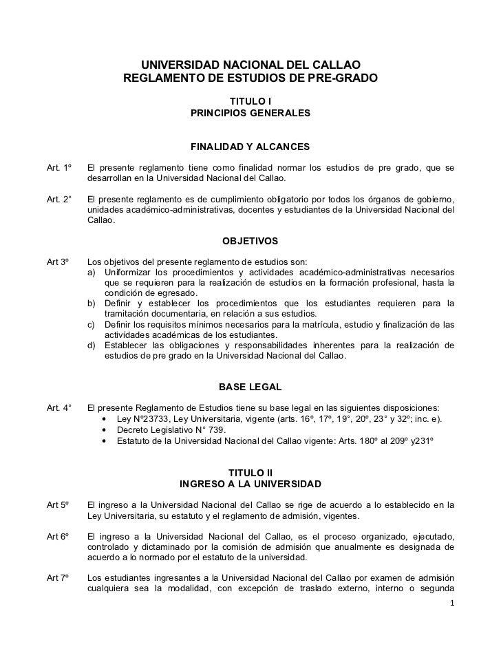 Proyecto de reglamento de estudios de pre grado 2011