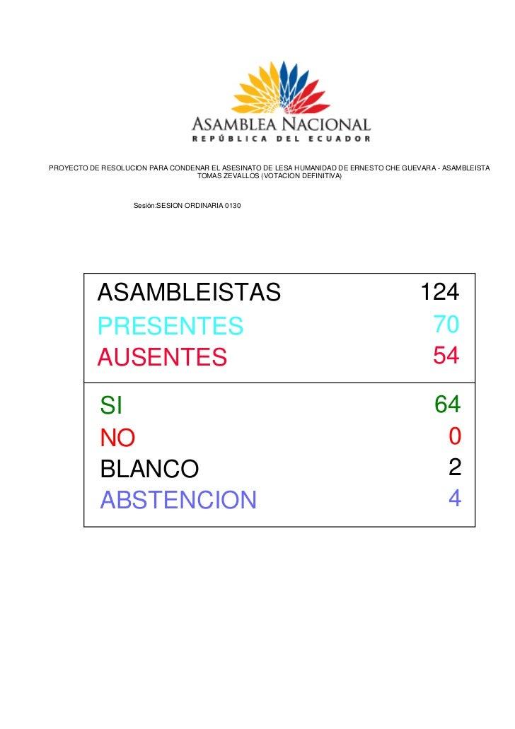 PROYECTO DE RESOLUCION PARA CONDENAR EL ASESINATO DE LESA HUMANIDAD DE ERNESTO CHE GUEVARA - ASAMBLEISTA                  ...