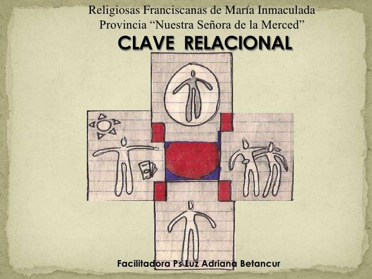 """Religiosas Franciscanas de María Inmaculada<br />Provincia """"Nuestra Señora de la Merced""""<br />CLAVE  RELACIONAL<br />Facil..."""