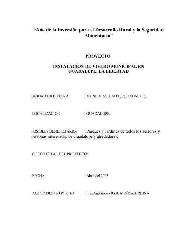 """""""Año de la Inversión para el Desarrollo Rural y la Seguridad                        Alimentaria""""                          ..."""