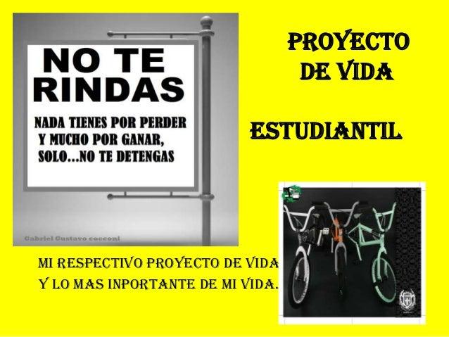 MI RESPECTIVO PROYECTO DE VIDA Y LO MAS INPORTANTE DE MI VIDA. PROYECTO DE VIDA estudiantil