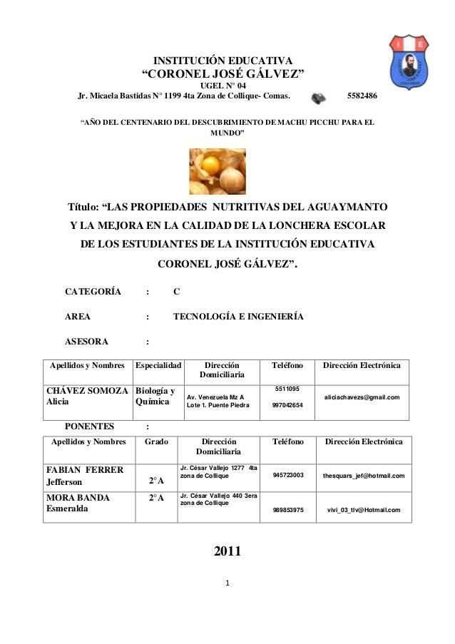 """INSTITUCIÓN EDUCATIVA                       """"CORONEL JOSÉ GÁLVEZ""""                                        UGEL N° 04      J..."""