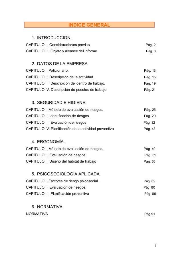 INDICE GENERAL   1. INTRODUCCION.CAPITULO I. Consideraciones previas                      Pág. 2CAPITULO II. Objeto y alca...
