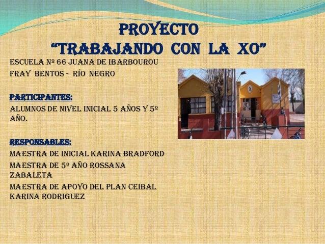 """PROYECTO """"TRABAJANDO CON LA XO"""" Escuela Nº 66 Juana de Ibarbourou Fray Bentos - Río Negro PARTICIPANTES: Alumnos de NIVEL ..."""