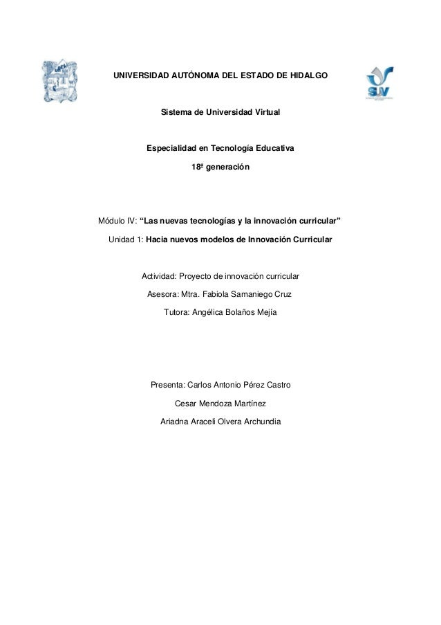 UNIVERSIDAD AUTÓNOMA DEL ESTADO DE HIDALGO                Sistema de Universidad Virtual            Especialidad en Tecnol...