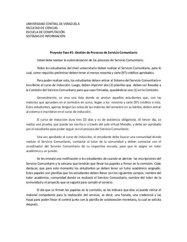 UNIVERSIDAD CENTRAL DE VENEZUELAFACULTAD DE CIENCIASESCUELA DE COMPUTACIÓNSISTEMAS DE INFORMACIÓN                  Proyect...