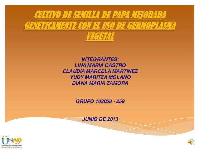 INTEGRANTES:LINA MARIA CASTROCLAUDIA MARCELA MARTINEZYUDY MARITZA MOLANODIANA MARIA ZAMORAGRUPO 102058 - 259JUNIO DE 2013C...
