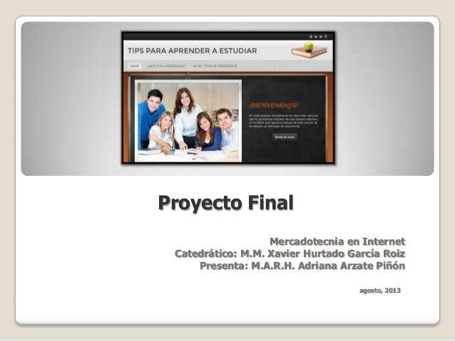 Proyecto Final Mercadotecnia en Internet Catedrático: M.M. Xavier Hurtado García Roiz Presenta: M.A.R.H. Adriana Arzate Pi...