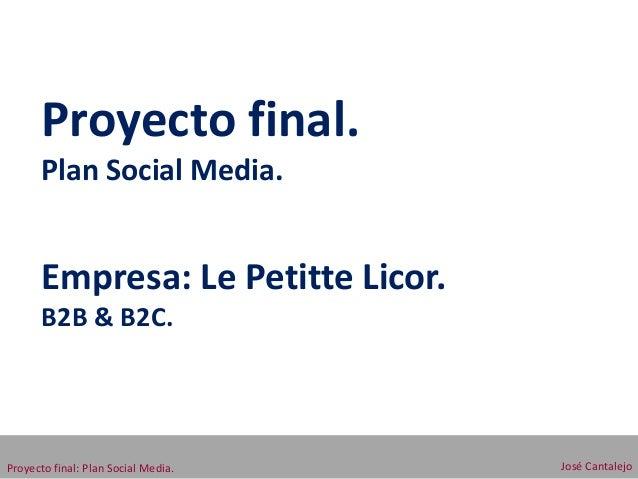 Proyecto final.      Plan Social Media.      Empresa: Le Petitte Licor.      B2B & B2C.Proyecto final: Plan Social Media. ...