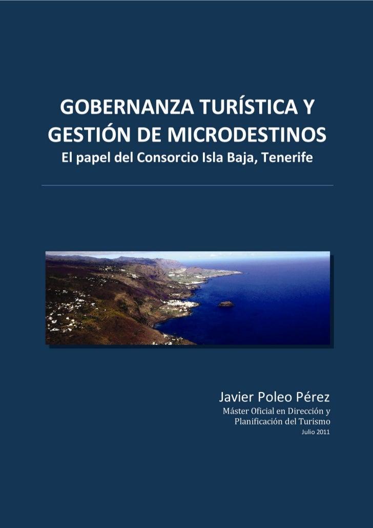 Gobernanza turística y gestión de microdestinos: el papel del Consorcio Isla Baja, Tenerife