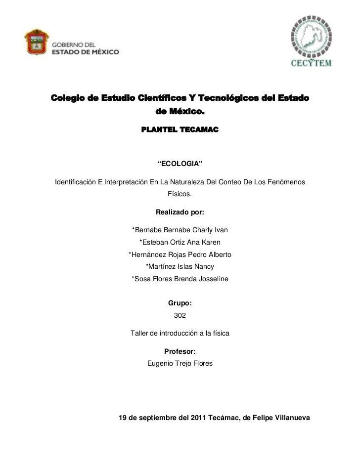 Colegio de Estudio Científicos Y Tecnológicos del Estado                              de México.                          ...