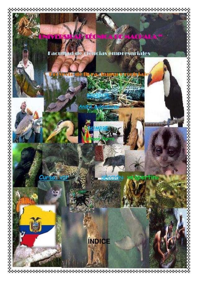 """""""UNIVERSIDAD TÉCNICA DE MACHALA """" Facultad de ciencias empresariales Proyecto de flora, fauna y reciclaje DOCENTE: André q..."""