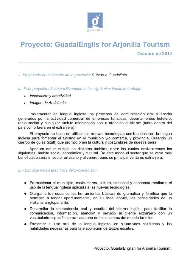 Proyecto: GuadalEnglis for Arjonilla Tourism                                                                        Octubr...