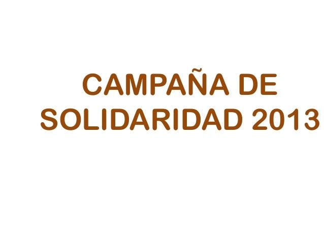 CAMPAÑA DESOLIDARIDAD 2013