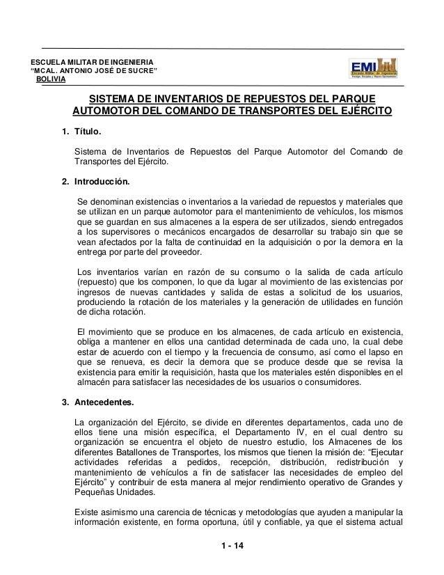 """ESCUELA MILITAR DE INGENIERIA""""MCAL. ANTONIO JOSÉ DE SUCRE"""" BOLIVIA           SISTEMA DE INVENTARIOS DE REPUESTOS DEL PARQU..."""