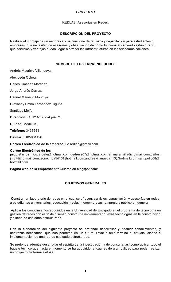 PROYECTO                                        REDLAB Asesorías en Redes.                                     DESCRIPCION...