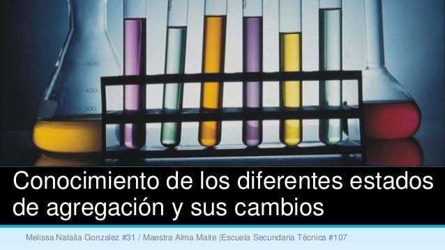 Conocimiento de los diferentes estadosde agregación y sus cambios Melissa Natalia Gonzalez #31 / Maestra Alma Maite |Escue...