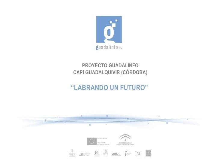 "PROYECTO GUADALINFO CAPI GUADALQUIVIR (CÓRDOBA) "" LABRANDO UN FUTURO"""