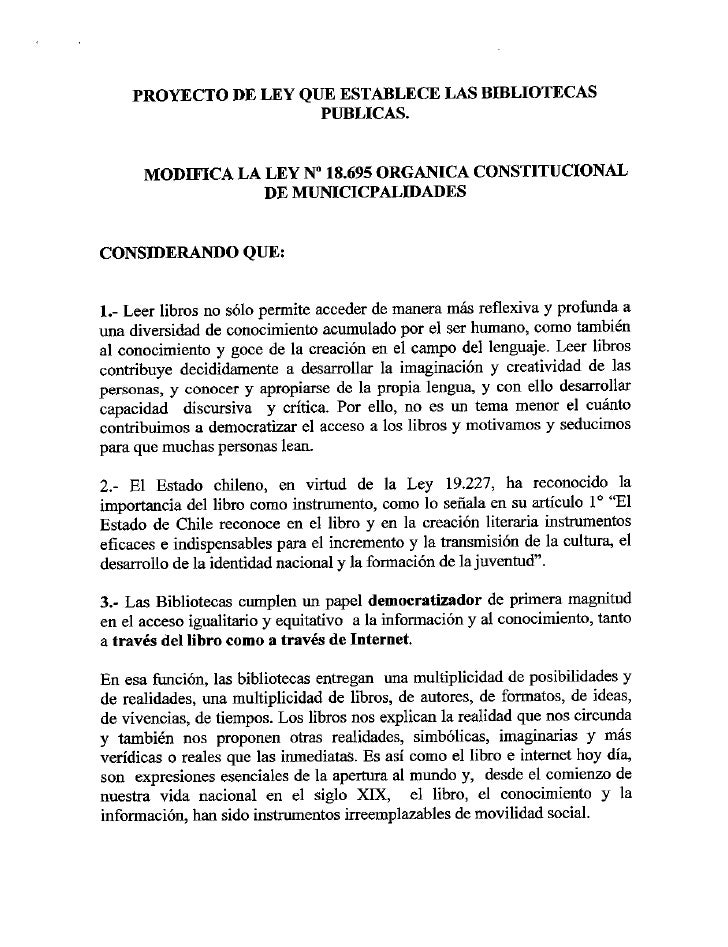 Proyecto de Ley de Bibliotecas Públicas elaborado por Dibam 2007