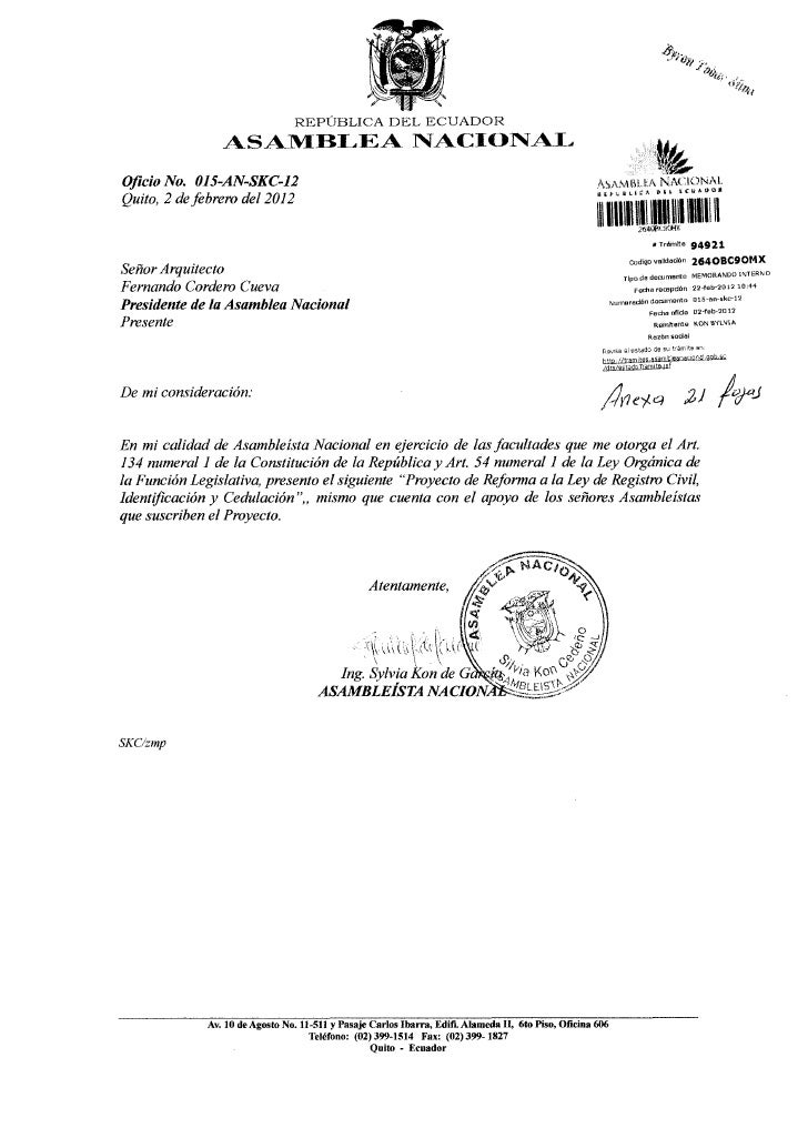 Proyecto ley reformatoria ley registro civil, identificacion y cedulacion