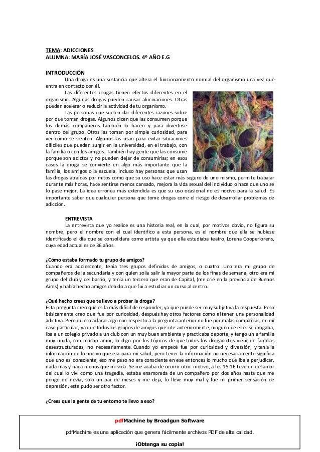 Tema: Adicciones. Entrevista
