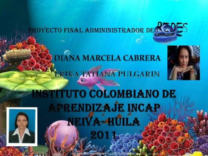 PROYECTO FINAL ADMININISTRADOR DE REDES<br />INSTITUTO COLOMBIANO DE APRENDIZAJE INCAPNEIVA- HUILA2011<br />       ...