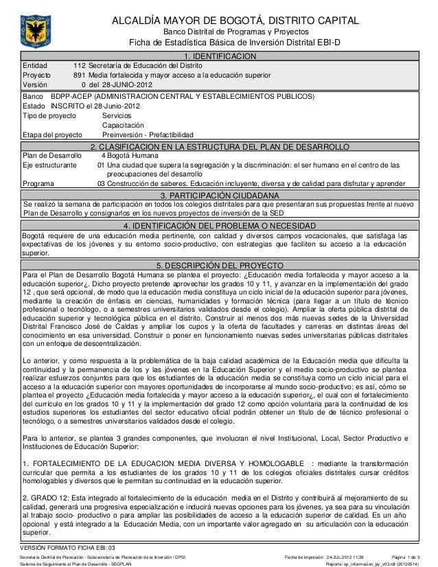 Banco Distrital de Programas y ProyectosALCALDÍA MAYOR DE BOGOTÁ, DISTRITO CAPITALSecretaría Distrital de Planeación - Sub...