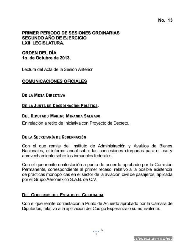 PROYECTO No. 13No. 13 PRIMER PERIODO DE SESIONES ORDINARIASPRIMER PERIODO DE SESIONES ORDINARIAS SEGUNDO AÑO DE EJERCICIOS...