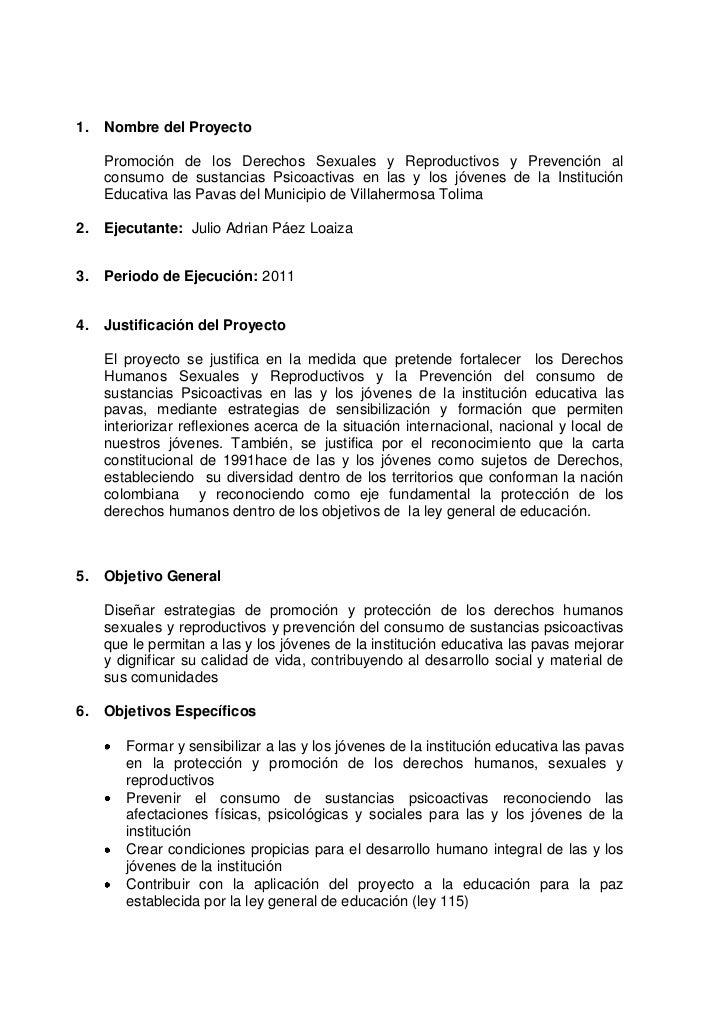Nombre del Proyecto<br />Promoción de los Derechos Sexuales y Reproductivos y Prevención al consumo de sustancias Psicoact...