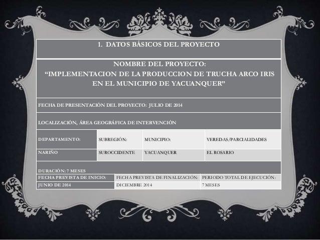 """1. DATOS BÁSICOS DEL PROYECTO  NOMBRE DEL PROYECTO:  """"IMPLEMENTACION DE LA PRODUCCION DE TRUCHA ARCO IRIS  EN EL MUNICIPIO..."""
