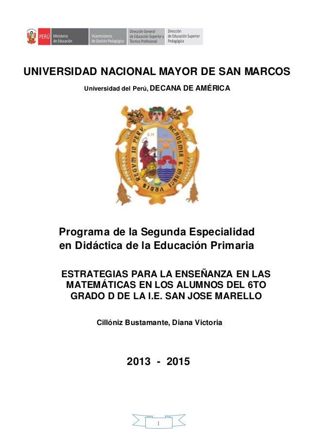 1 UNIVERSIDAD NACIONAL MAYOR DE SAN MARCOS Universidad del Perú, DECANA DE AMÉRICA Programa de la Segunda Especialidad en ...