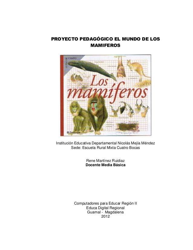 PROYECTO PEDAGÓGICO EL MUNDO DE LOS            MAMIFEROS Institución Educativa Departamental Nicolás Mejía Méndez         ...
