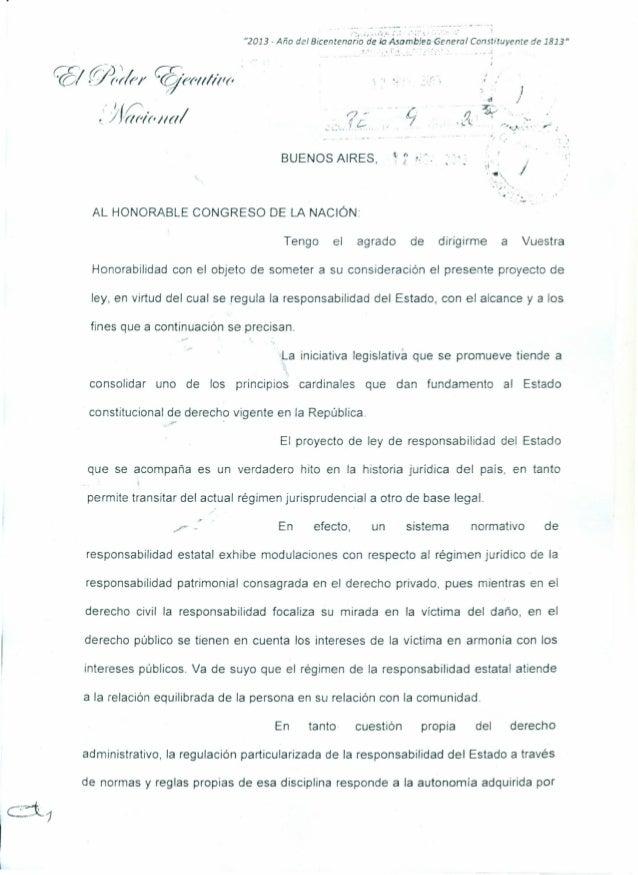 """Proyecto PEN """"Responsabilidad del Estado. Regulación"""""""