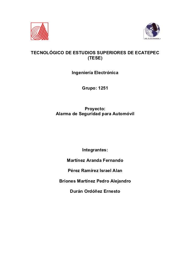 TECNOLÓGICO DE ESTUDIOS SUPERIORES DE ECATEPEC                     (TESE)                  Ingeniería Electrónica         ...