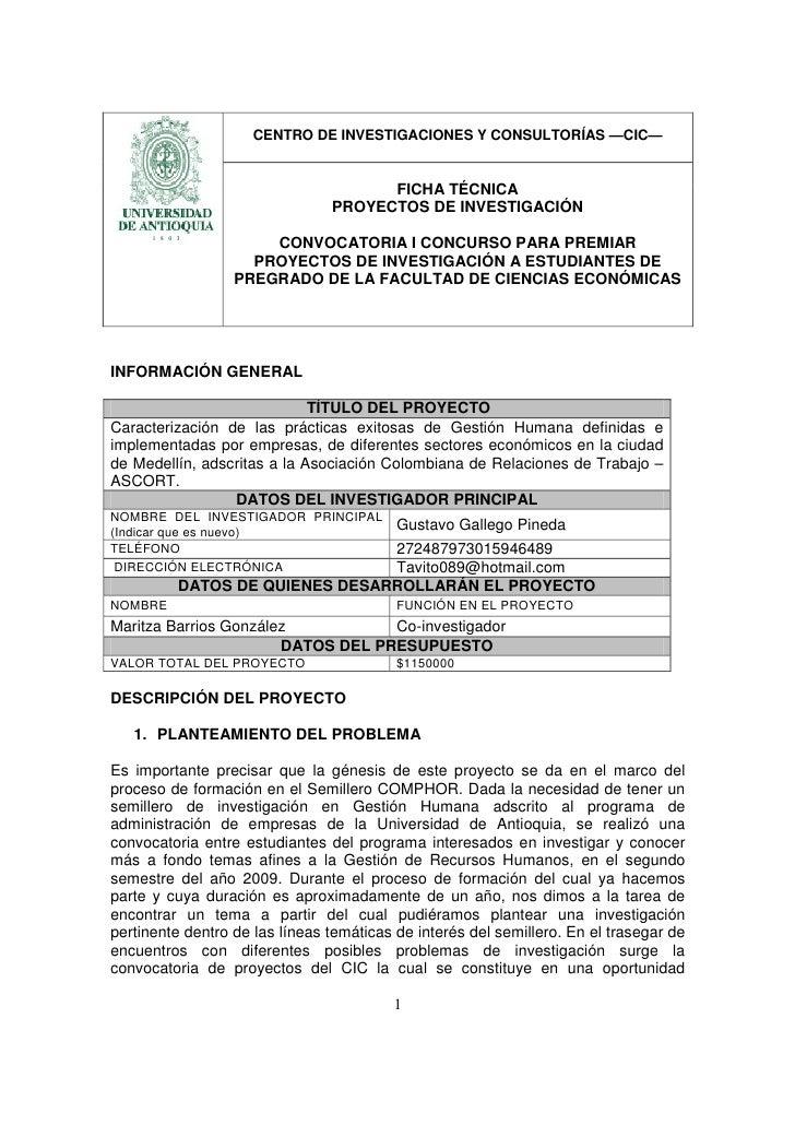 CENTRO DE INVESTIGACIONES Y CONSULTORÍAS —CIC—                                         FICHA TÉCNICA                      ...