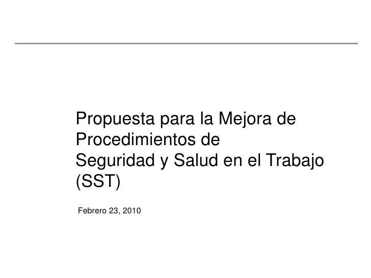 Proyecto: Procedimiento de Seguridad y Salud en el Trabajo (SST)