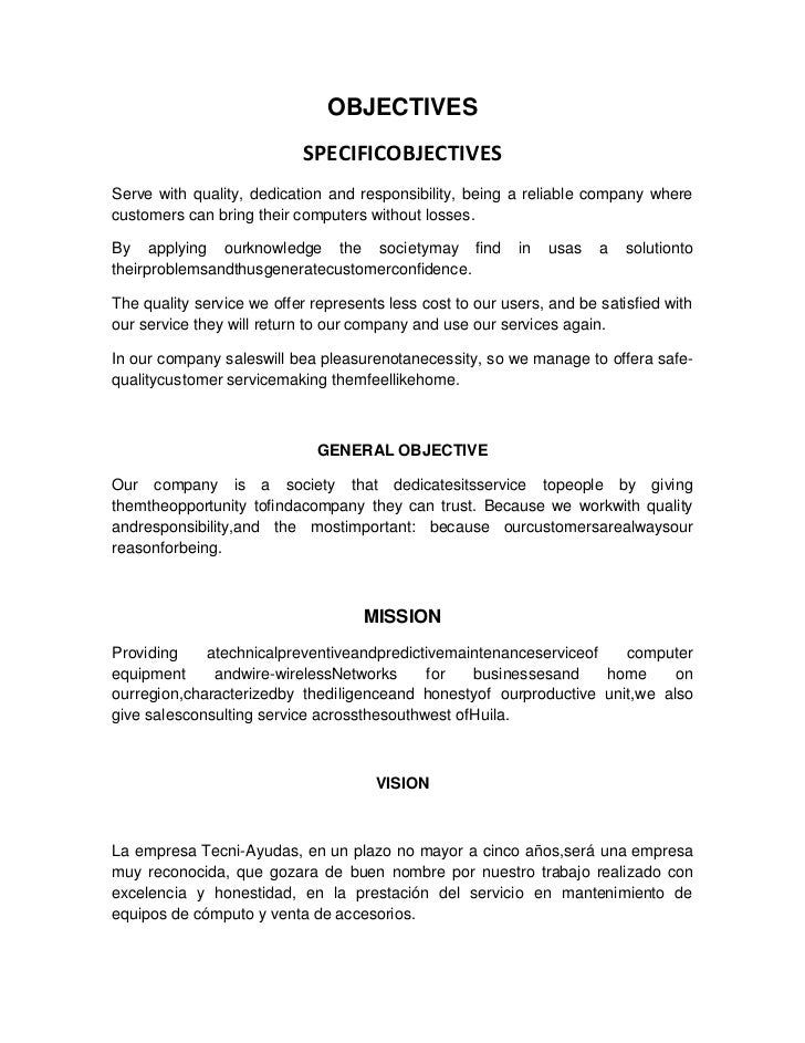 OBJECTIVES<br />SPECIFIC OBJECTIVES<br />Serve with quality, dedication and responsibility, being a reliable company where...