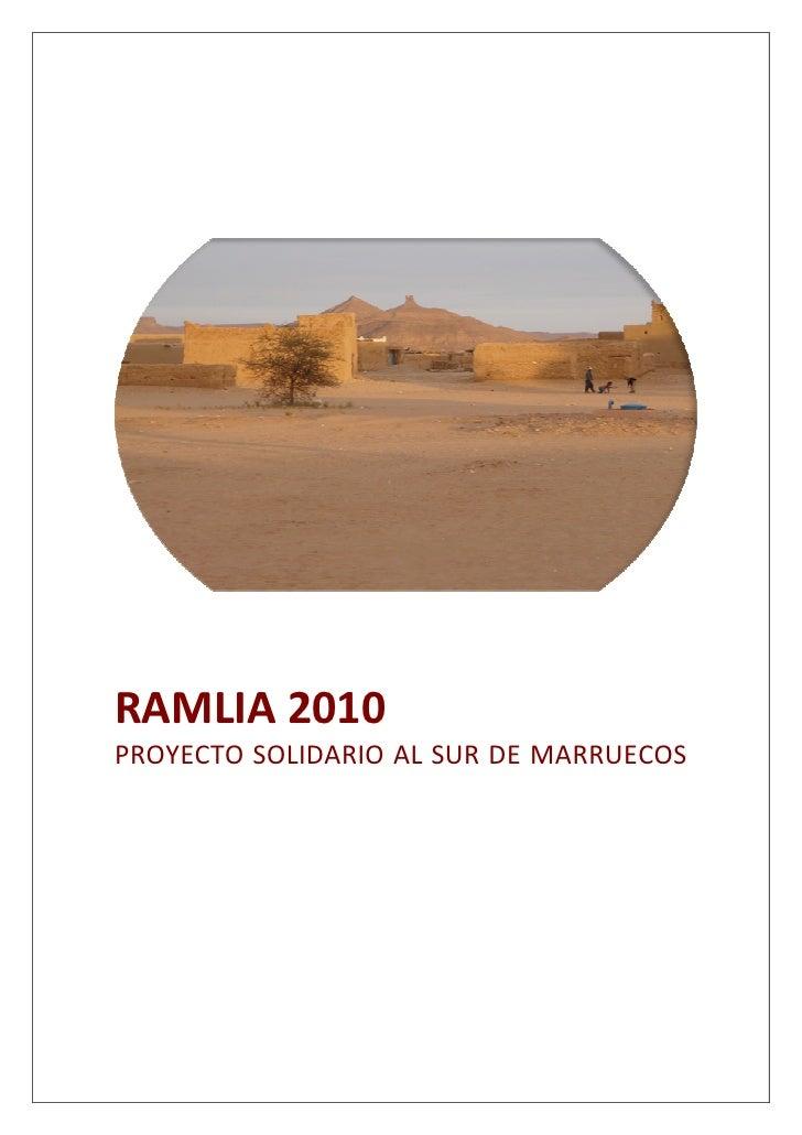 RAMLIA 2010 PROYECTO SOLIDARIO AL SUR DE MARRUECOS