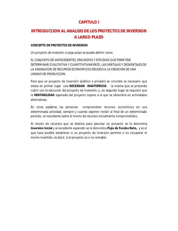 CAPITULO I  INTRODUCCION AL ANALISIS DE LOS PROYECTOS DE INVERSION                    A LARGO PLAZO CONCEPTO DE PROYECTOS ...