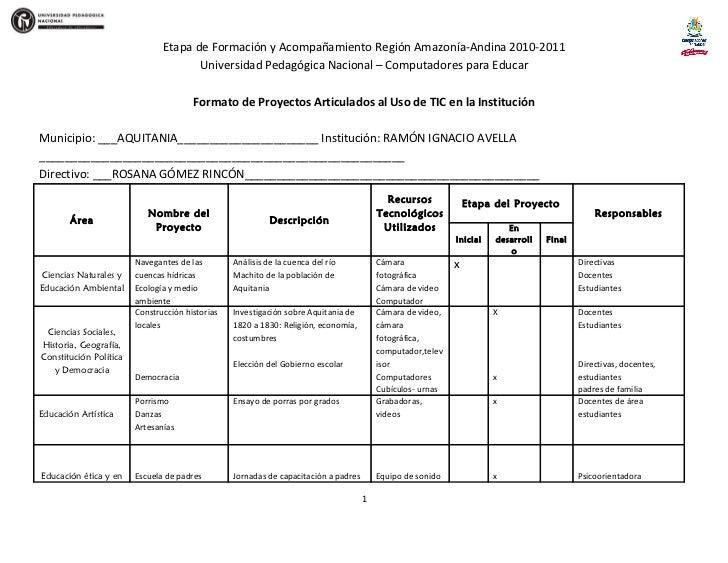 Etapa de Formación y Acompañamiento Región Amazonía-Andina 2010-2011                                      Universidad Peda...