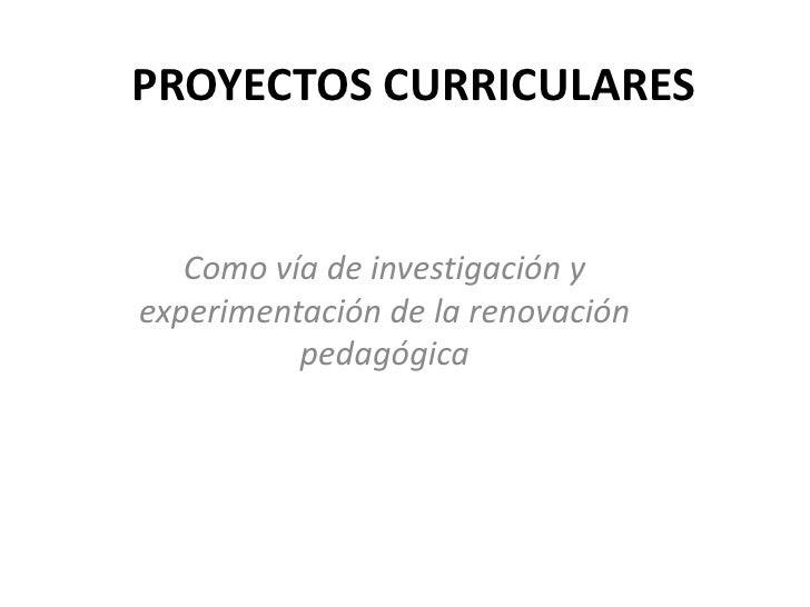PROYECTOS CURRICULARES      Como vía de investigación y experimentación de la renovación           pedagógica
