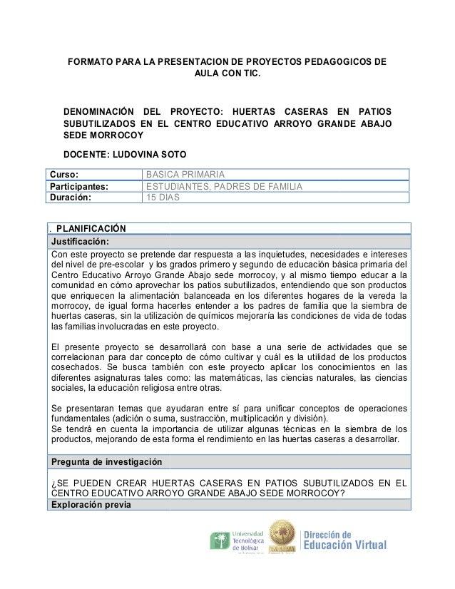 FORMATO PARA LA PRESENTACION DE PROYECTOS PEDAGOGICOS DE AULA CON TIC.  DENOMINACIÓN DEL PROYECTO HUERTAS CASERAS EN PATIO...