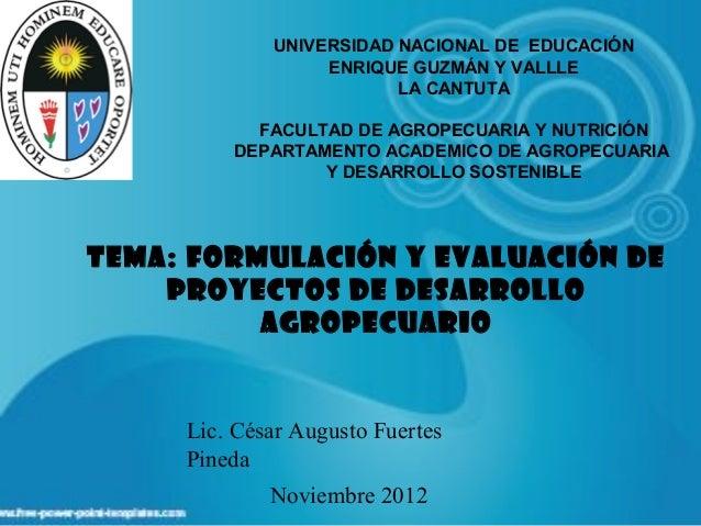 FORMULACION Y EVALUACION DE PROYECTOS DE DESARROLLO AGROPECUARIO