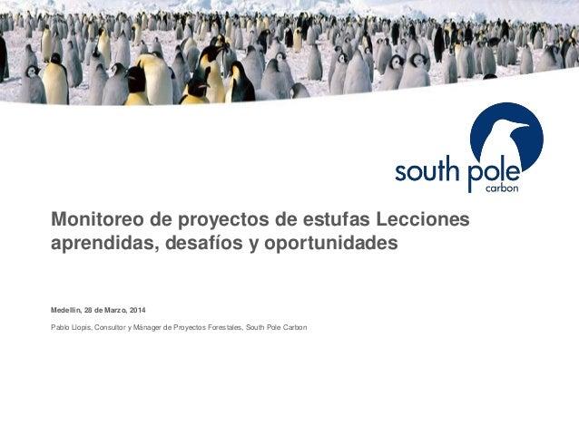 Monitoreo de proyectos de estufas Lecciones aprendidas, desafíos y oportunidades Medellin, 28 de Marzo, 2014 Pablo Llopis,...