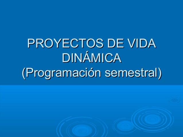PROYECTOS DE VIDA DINÁMICA (Programación semestral)