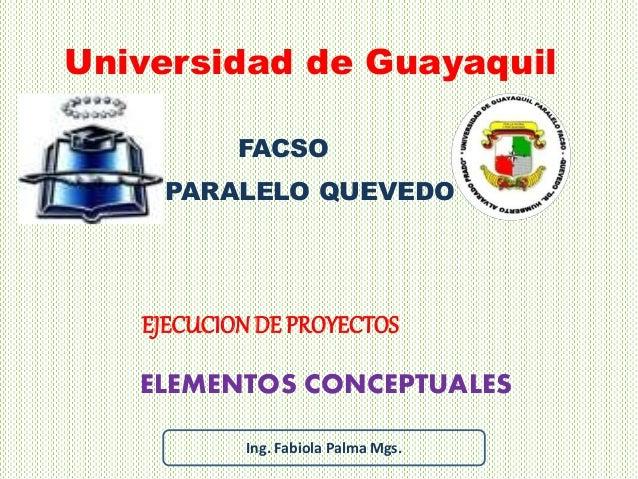 ELEMENTOS CONCEPTUALES Universidad de Guayaquil EJECUCIONDE PROYECTOS FACSO PARALELO QUEVEDO Ing. Fabiola Palma Mgs.