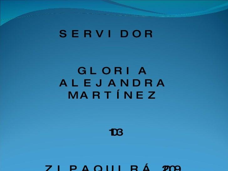 SERVIDOR  GLORIA ALEJANDRA MARTÍNEZ 1103 ZIPAQUIRÁ 2009