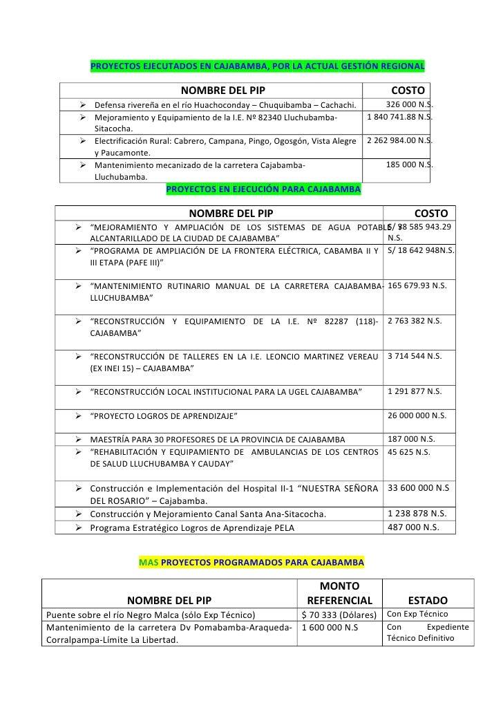 Proyectos importantes para cajabamba 2012   2014